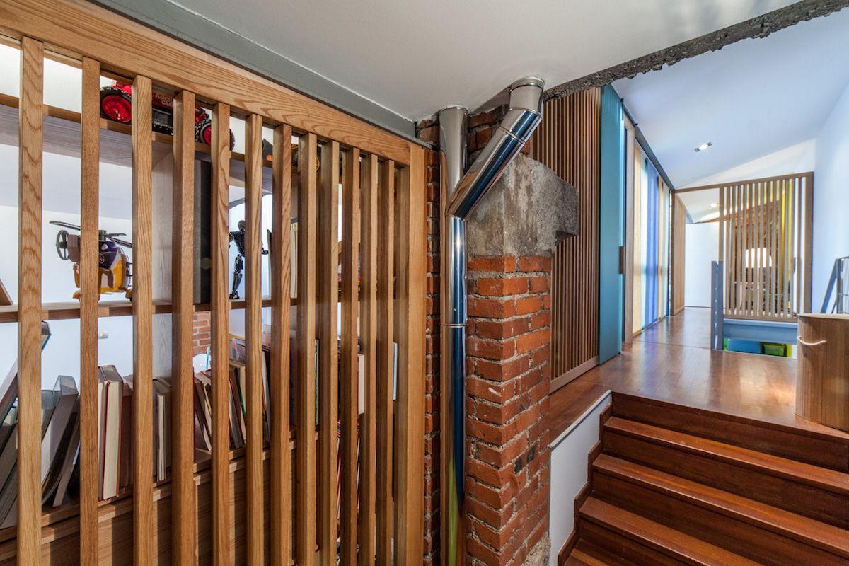 Loft spazi privati - separazioni in legno a doghe e vetro - Milano