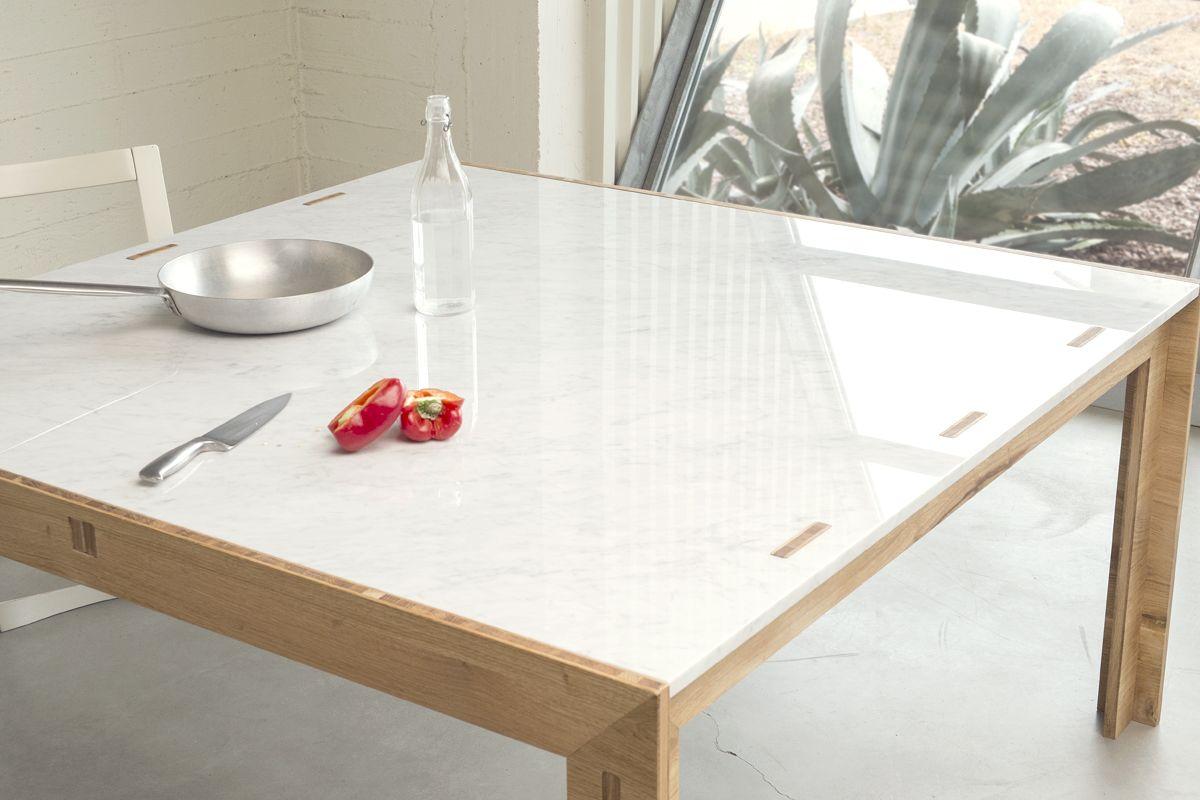 Tavolo Quadrato Legno E Marmo.Nodoo Tavolo In Legno