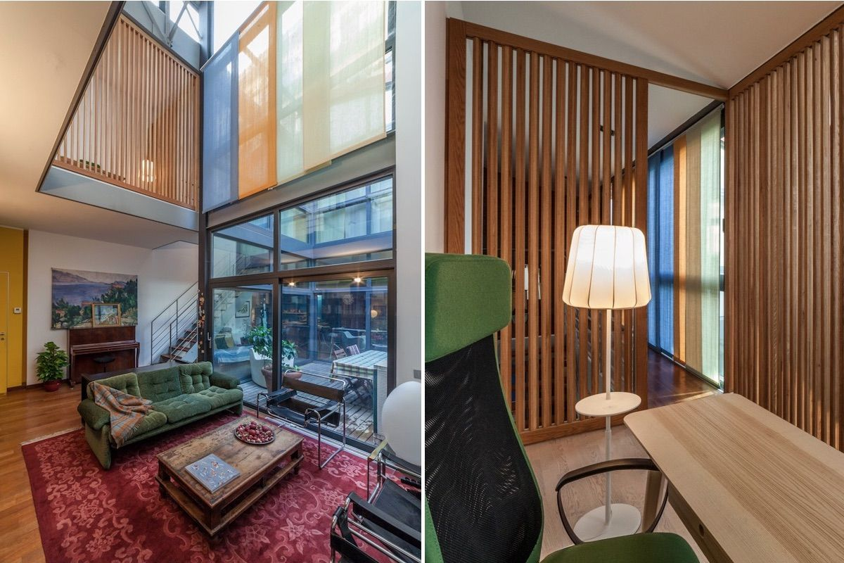 Loft private space - wooden slats and glass partitions - Milan