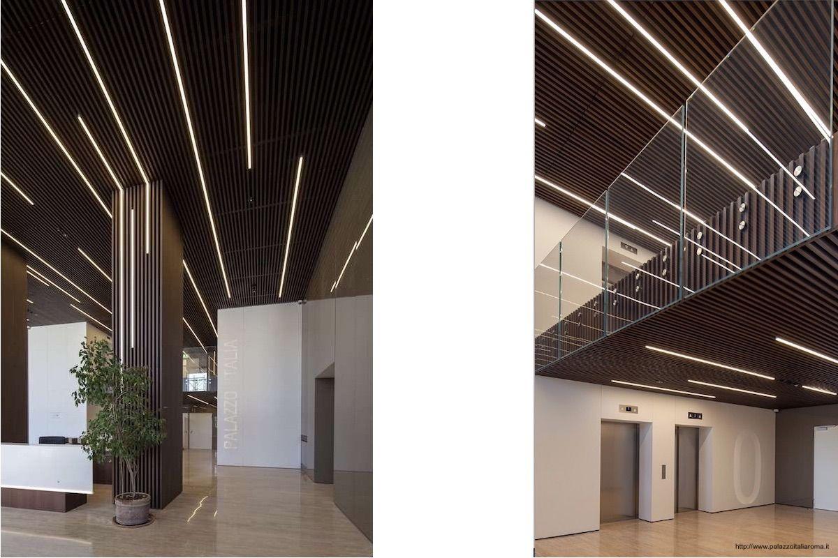 Palazzo Italia - false ceiling with wooden slats - Rome